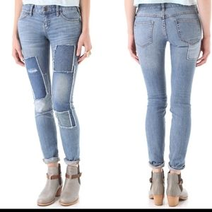 Free People Patched Skinny Jeans Size 26